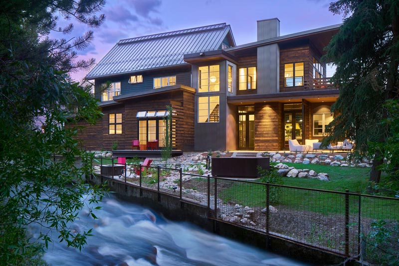 exterior custom home on the creek steamboat springs colorado