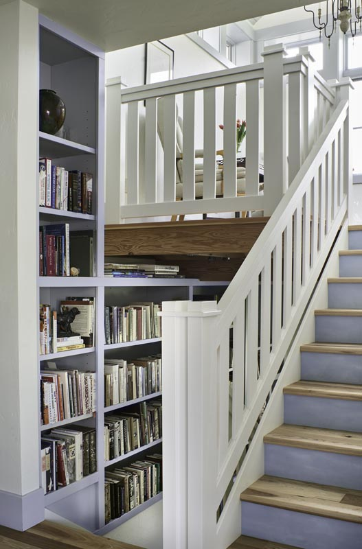 Bookshelf on stairway architect by gerber berend custom design build