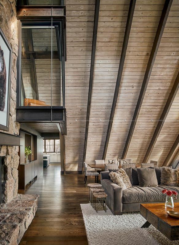 glass loft above common area great room mountain luxury custom home