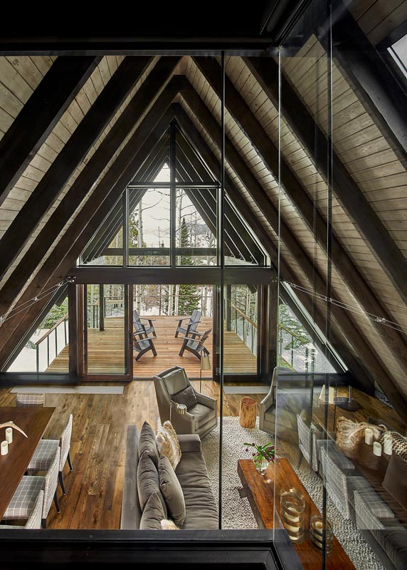 interior a-frame architecture living room and deck