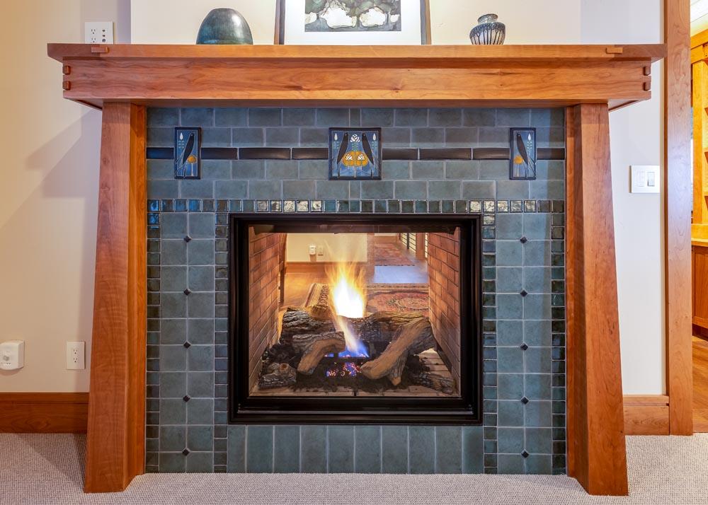 custom two sided fireplace