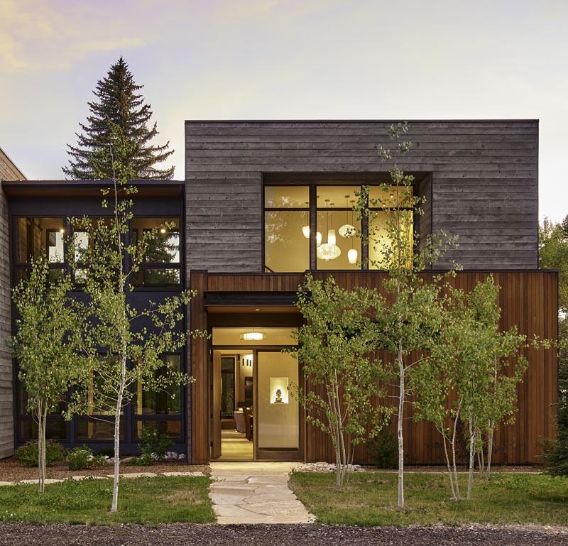 exterior entrance to zen den custom modern home design
