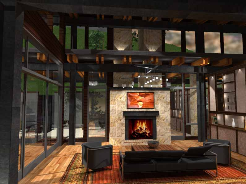 Interior rendering of the living room fire place, dark modern furniture, wood floors and exposed framing