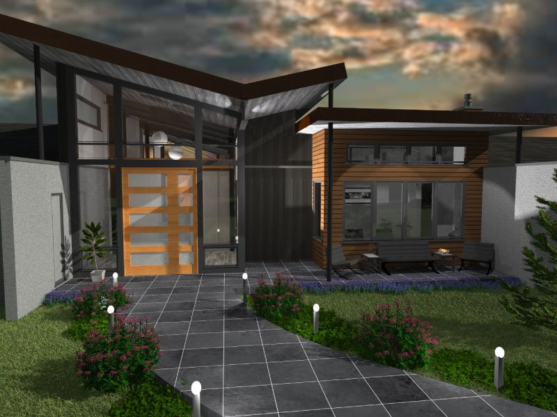 A modern style design rendering of steamboat springs home exterior