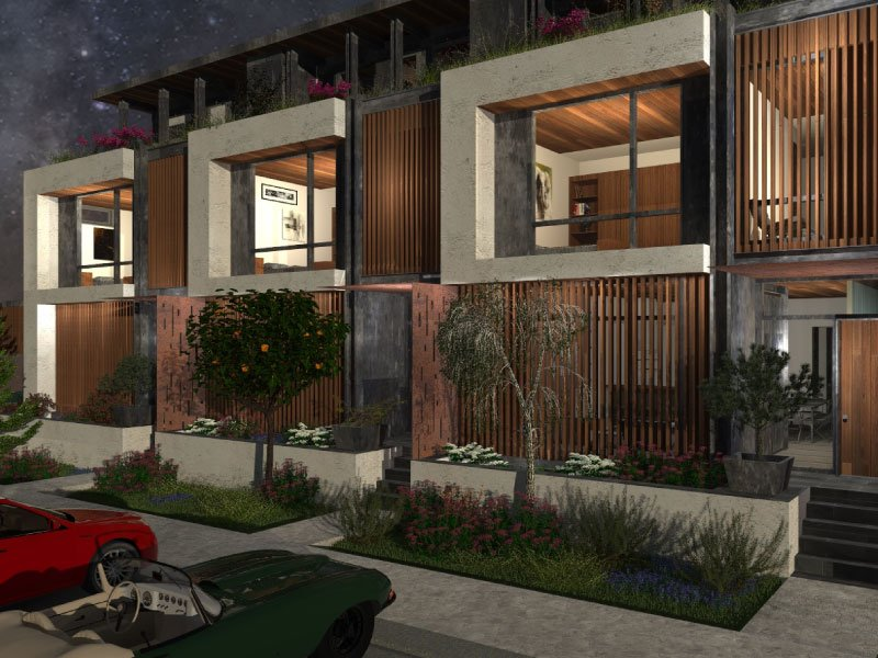 Rendering of a modern condo with loft, slotted window fascia and plants near the entrance.