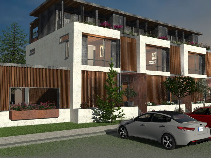 Daytime street view rendering of a modern condo design by Gerber Berend