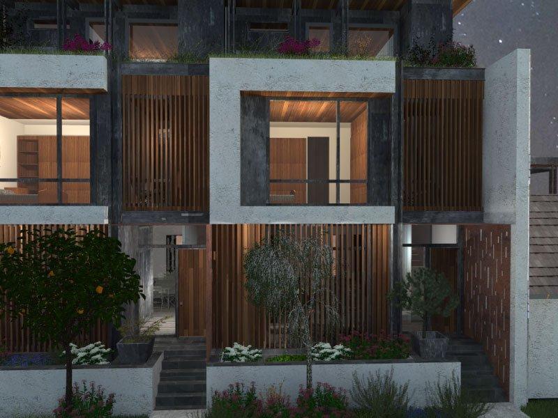 Modern exterior design of condo rendering by Gerber Berend
